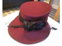Formal maroon hat wedding occasion