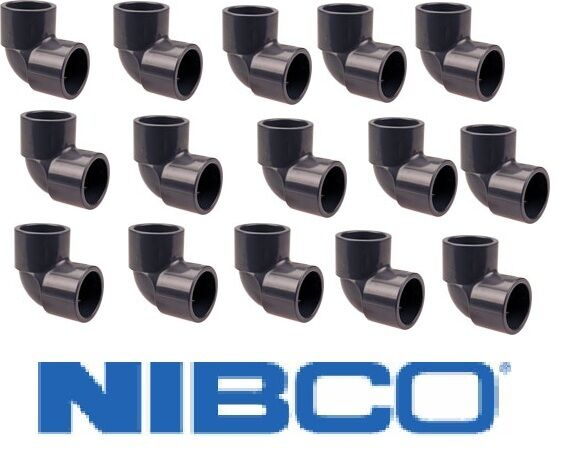 "15 Nibco 1 1/4"" 90° Elbow Slip x Slip Sch 80 PVC Fitting Gray Irrigation"