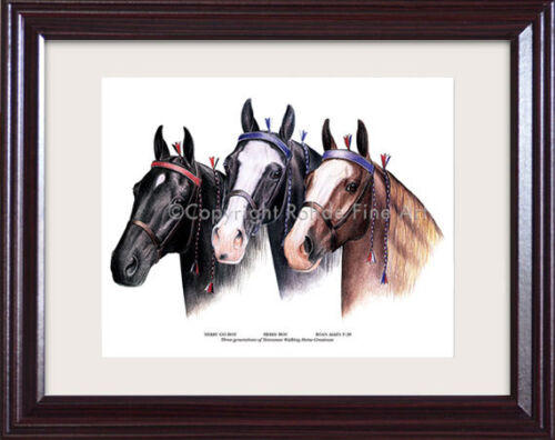 FRAMED TENNESSEE WALKER walking HORSE ART painting - 3 FAMOUS STALLIONS nice!