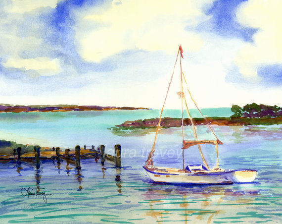 sailing watercolor by laura trevey