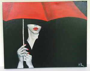 Painting Lady Dressed in Black, Red Lipstick and Red Umbrella West Island Greater Montréal image 1