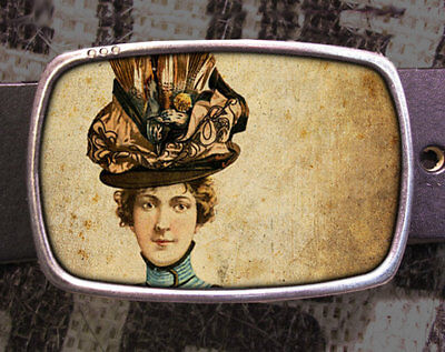 Hat Lady Vintage Inspired Art Gift Woman Girl Hats Belt Buckle for sale  Shipping to India