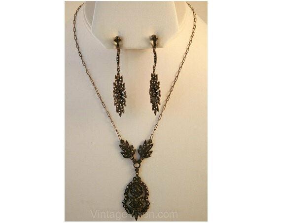 Splendid 1910s Sterling Marcasite Necklace & Earrings Titanic Era Demi-Parure