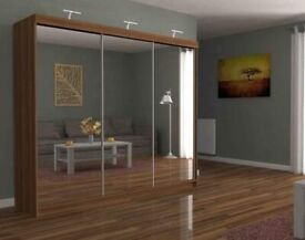 💥💯GREAT DEALS 2 AND 3 MIRRORED DOORS SLIDING WARDROBES WITH SHELVES, RAILS