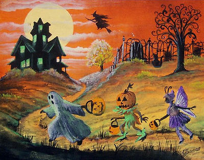Halloween Art Witches Haunted House Children Ghost Pumpkin Boy Byrum PRINT HA31 - Halloween Art Kids