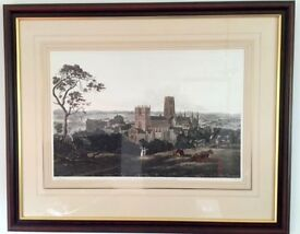 "Limited edition print of Durham Cathedral and Castle - mahog. frame.36"" x 30"" Cost £180 Sell £30"