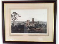 "Limited edition print of Durham Cathedral and Castle in mahogany frame (36"" x 30"")"