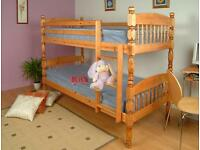 BRANDE NEW - SHERWOOD PINE WOODEN BUNK BED - CAN BE SPLIT INTO 2 SINGLE BEDS!
