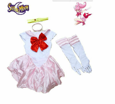 Sailor Moon Chibiusa Costume Pink Dress w/Gloves for Cosplay & Halloween Party