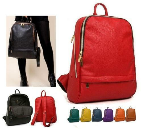 Red Leather Backpack | eBay