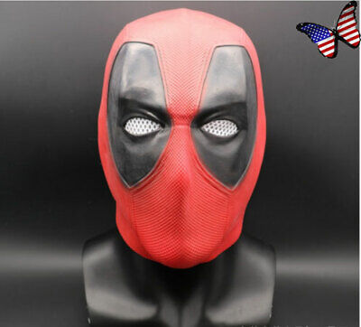 US! Deadpool 2 Full Head Latex Mask Superhero Halloween Cosplay Party Red Mask