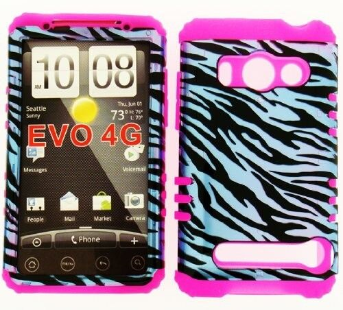 Impact HYBRID Silicone+Cover Case for Sprint HTC EVO 4G Blue Black Zebra on Pink