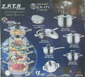 NEW Z SWISS 16pc Cookware Set 12 Layers Capsuled Bottom Z.P-171