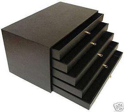 5 Draw Storage Organizer Nicknacks Case Travel Display Box Wood Jewelry Inserts