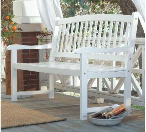 Outdoor Park Bench 5 FT Garden Porch Furniture White Wood Sl