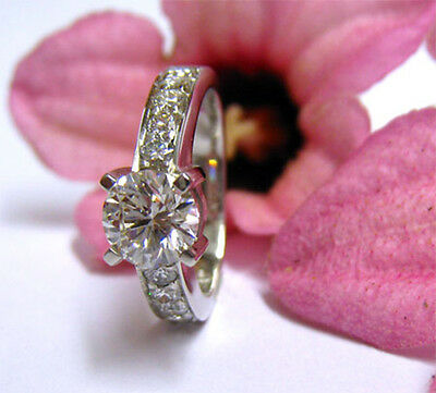 1.40 Ct. Natural Round Cut Pave Diamond Engagement Ring - GIA Certified