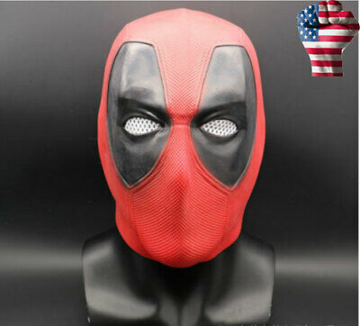 USA! Superhero Deadpool 2 Full Head Latex Mask Halloween Cosplay Party Red Mask