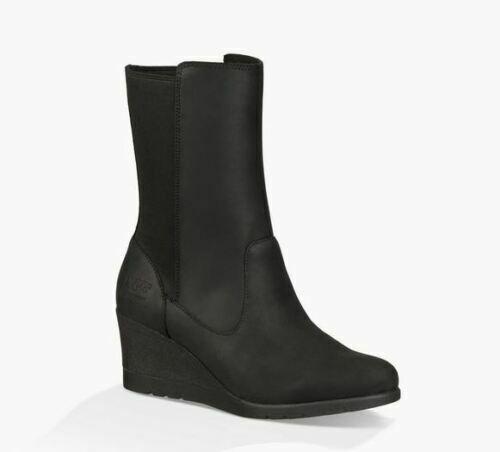"UGG Womens 8"" Coraline Black Waterproof Leather Insulated We"