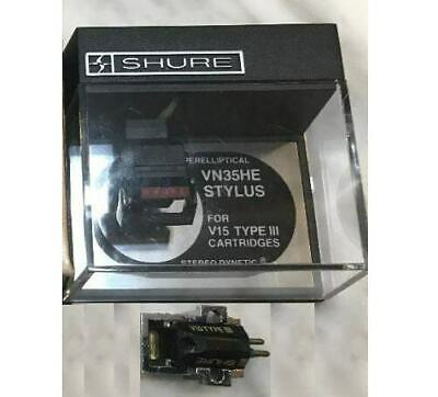 SHURE V15 TYPE III CARTRIDGE AND GENUINE VN35HE HYPERELLIPTICAL STYLUS IN CASE 1, used for sale  Shipping to India