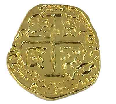 Pirate Treasure Coins - 100 Metal Gold Colored Doubloon Props For Sale - 1