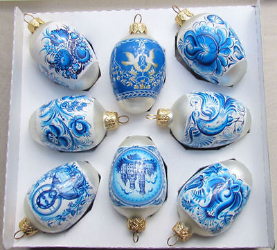8 Wrapped Glass Christmas Ornaments,Blue Ghzel Xmas Egg