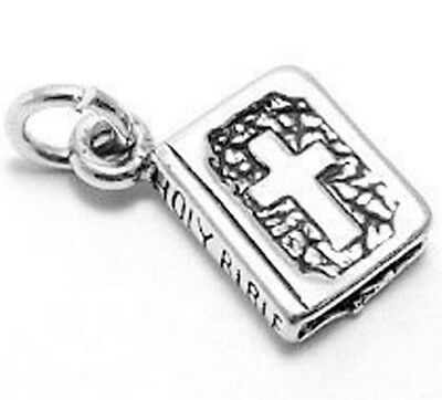 Holy Bible Charm - 925 Sterling Silver 2-sided Holy Bible Charm