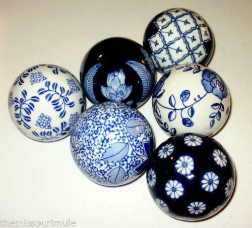 Blue porcelain balls home decor ebay for Decorating with blue and white pottery