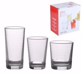 GLASS4YOU 18 PCS SET DRINKING GLASSES PARTY BAR TUMBLERS 3 SIZES SWIRL DESIGN