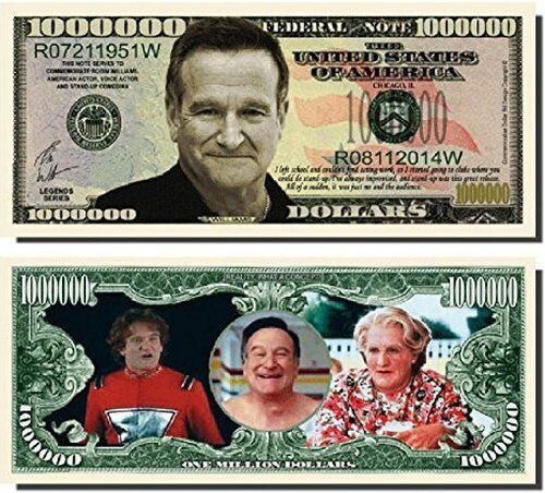 new Robin Williams Million Dollar Bill Funny Money Novelty Note + FREE SLEEVE