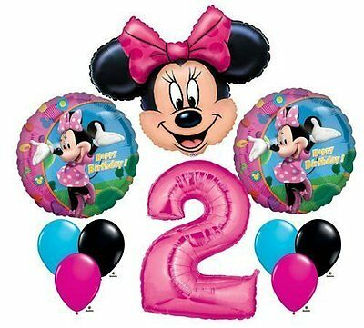 MINNIE MOUSE #2 2nd Pink Bow Birthday Party Decoration Mylar & Latex Balloon Set](Minnie Mouse 2nd Birthday Decorations)