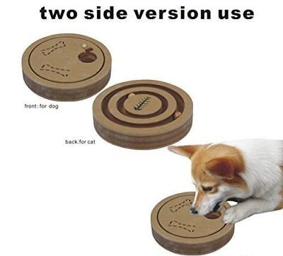Interactive Fun IQ Puzzle for Dogs + Cats and Pets Food Treated Wooden Toy Game ()