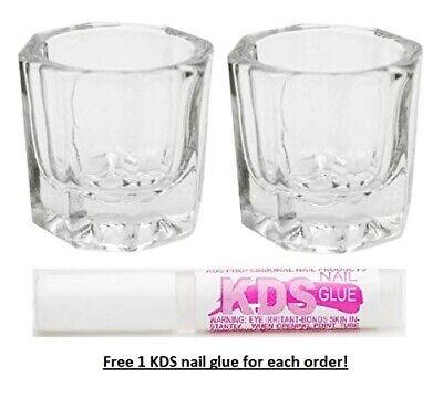 2 pcs Nail Art Acrylic Crystal Cup No-Cover Liquid Powder Glass Dappen Dish Bowl