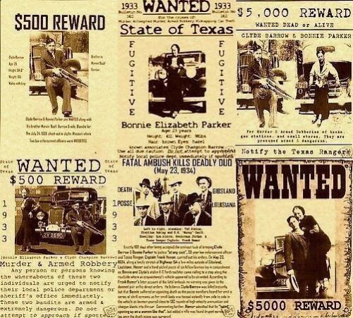 6 BONNIE AND CLYDE WANTED POSTER GANGSTER BARROW PARKER REWARD ENEMY ALCATRAZ