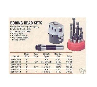 Boring Head Set R8 Shank 3 Diameter 12 Pc. Bars New