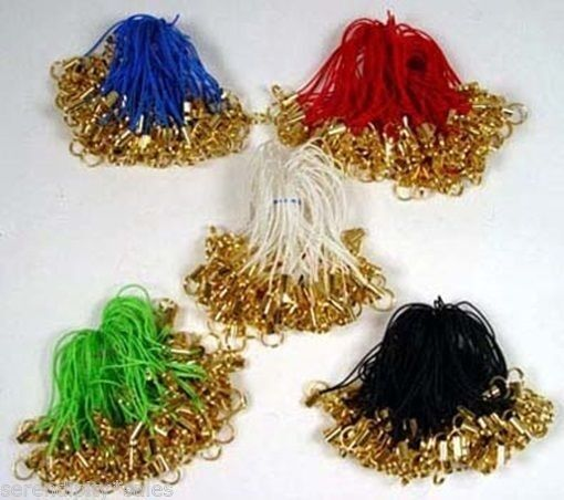 Lot 100 CELL PHONE Straps LARIAT ~ GOLD Split Ring End ~ Pick or MIX 5 Colors