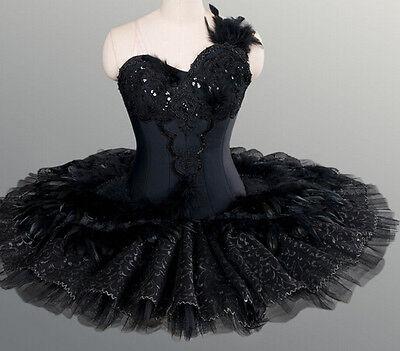 Professional Black Swan Lake Ballet Tutu Feathered Costume Custom MTO $799 YAGP - Black Swan Costumes