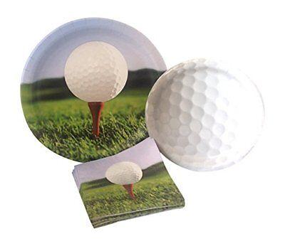 Golf Napkins - Golf Party Paper Dinner Dessert Plates Napkins For 8 Retirement Birthday
