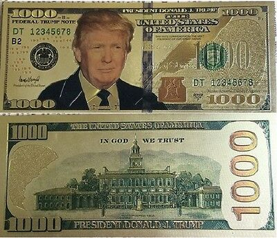President Donald Trump - Gold Foil Plating  $1,000.00 Novelty Note  #2