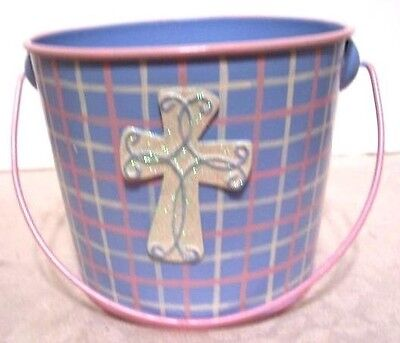 BLUE PLAID METAL EASTER BUNNY BUCKET DECORATION SPRING - Metal Easter Buckets