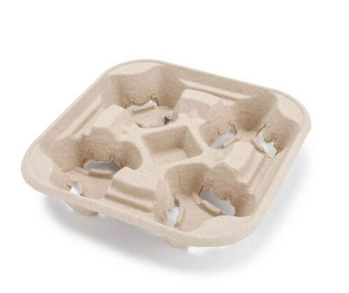 Biodegradable Pulp 4 Cup Drink Carrier Tray/Holder - 25ct NEW
