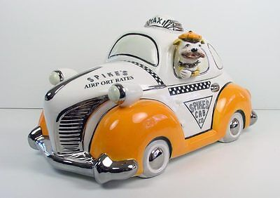 Henry Cavanagh Spikes Taxi Cab Car Cookie Treat Jar Bully Bulldog Driving NIB