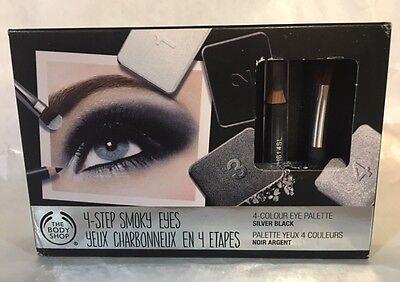The Body Shop 4 Step Smoky Eyes Silver Black Eye Shadow Pallet New In Box