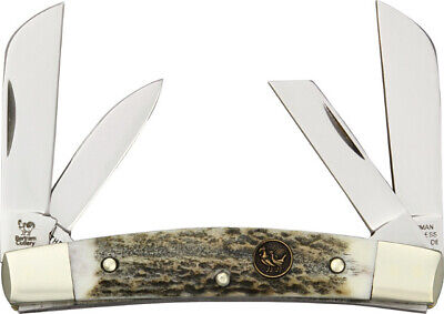 """Hen & Rooster Congress Deer Stag Knife 344DS 3 3/4"""" closed. German stainless twi"""