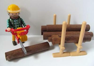 Playmobil Farm/Forest/Countryside: Lumberjack figure, chainsaw & logs *NEW*