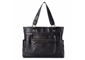 NEW Black Leather Purse Laptop Tablet Tote Bag Work School