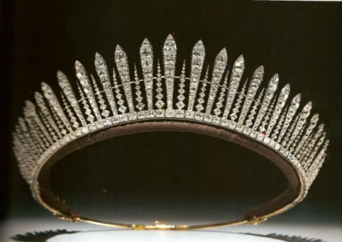 Victorian Era Inspired Vintage Reproduction Diamond Queen Mary Fringe Tiara