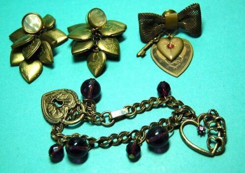 Vintage jewelry lot Brass locket pierce Earrings & Brass heart brooch & Bracelet