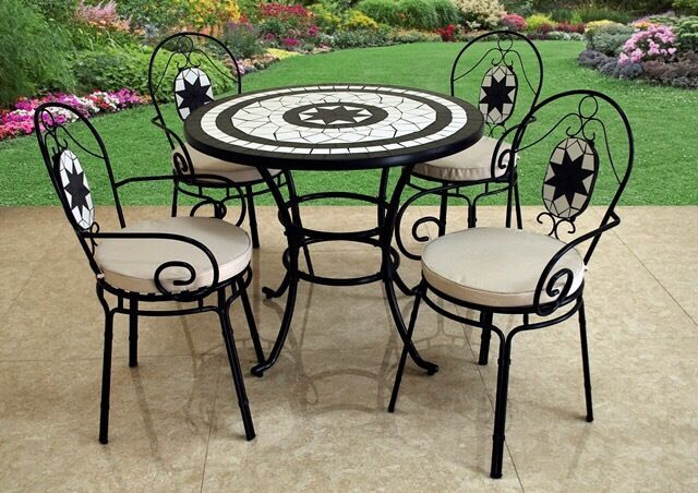 garden table and chairs 4 seater mosaic garden table and chairs with cushions excellent condition - Garden Furniture 4 Seater