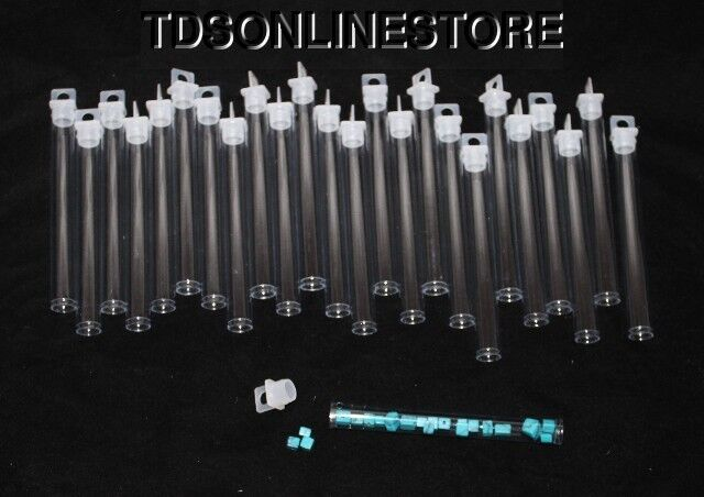 """PACKAGE OF 25 ROUND CLEAR PLASTIC STORAGE TUBES 4"""""""