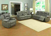 3PC BONDED LEATHER RECLINER SOFA SET $1498